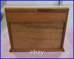 Vintage Solid Wood Large Jewelry Box Double Doors And Drawers. Mint
