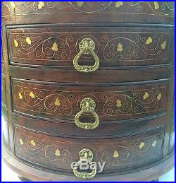 Vintage Solid Wood Table Nightstand Jewelry Case Chest Trinket Box, Velvet Lined
