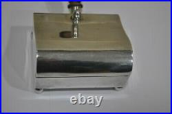 Vintage Sterling Silver Tobacco Jewelry Box, Wood Lined, Silent Butler Shaped