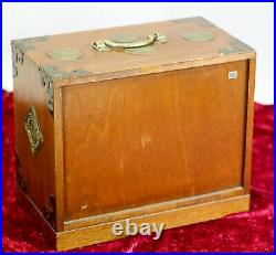 Vintage Tansu Style Jewelry Box 6 Drawers Keyed Lock Made in Japan Wood + Brass