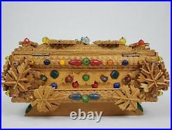 Vintage Tramp Art Box German Folk Art Wooden Jeweled Trinket Signed 10x7x6