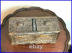 Vintage Tramp Art Jewelry Keepsake Sewing Box