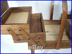 Vintage Walnut Hand Made Expandable Lift Top Wood Sewing Jewelry Dresser Box