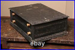 Vintage Wood Apothecary Cabinet 2 drawer Jewelry Box Tabletop Countertop Black