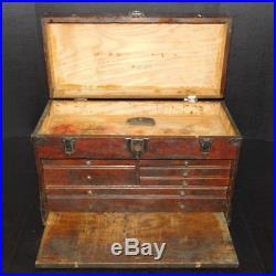 Vintage Wood Machinist 7 Multi Drawer Tool Chest Case Storage Trunk Jewelry Box