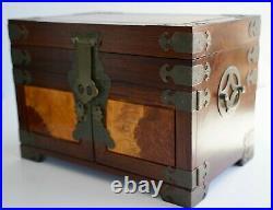 Vintage Wood and Brass Oriental Three Tray Gold-tone Silk-Lined Jewelry Box EUC