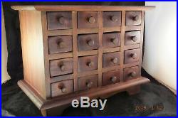 Vintage Wooden 16 Drawer Apothecary Chest Storage Box Jewelry
