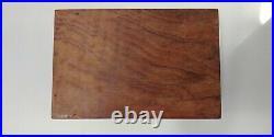 Vintage Wooden Chest Jewlery Box Brass Inlay Design Shelf Hand Made Solid Wood