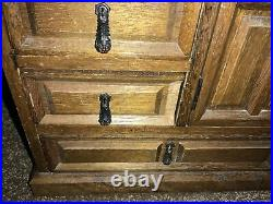 Vintage Wooden Fartington Jewelry Box 11 Drawers Organizers Large Hanging Pulls