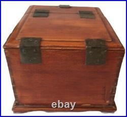 Vintage Wooden Flip Tilting Mirror Travel Jewellery Vanity Box Draws Shabby Chic