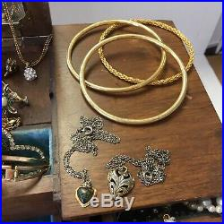 Vintage Wooden Jewelry Box Full Huge Lot Necklaces Bracelets Set & More