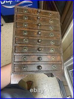 Vintage Wooden Storage Jewelry Cabinet Organizer 8 Drawer Hand Crafted Beautiful