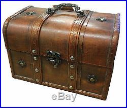 Vintage Wooden Treasure Chest Storage Jewellery, Trinket, Keepsake Box Dark Oak