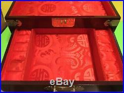 Vintage XLARGE Chinese Cherry Wood/Brass Jewelry Box 15 X 10X 10 2 Drawer