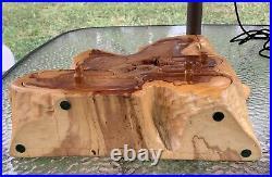 Vintage large WOOD CARVED PUZZLE BOX TREE STUMP TRINKET JEWELRY BOX