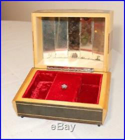 Vintage ornate handmade marquetry Italian inlaid wood music jewelry box casket