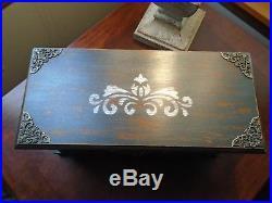 Vintage upcycled wood jewelry box gothic skulls damask distressed black
