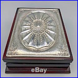 Vtg 90s Mappin & Webb Jewelry Valet Box Embossed Sterling Silver Top