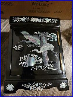 Vtg Asian Lacquer Wood Jewelry Box Inlay Mother of Pearl Abalone Chest Cranes