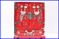 Vtg Asian Lacquer Wood Jewelry Box Inlay Mother of Pearl Abalone Chest RED Birds