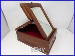 Vtg Asian wood makeup jewelry box folding mirror Japan China brass koi fish 348