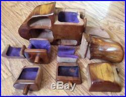 Vtg CRAIG BOLAND Wood jewelry PUZZLE secret treasure BOX Mid Century Modern teak