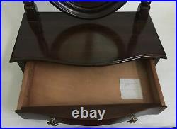 Vtg Ethan Allen Dark Wood Oval Mirror Jewelry Box Shaving Vanity Tabletop Drawer