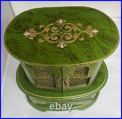 Vtg Green Gold Toleware Florentine Style Pink Velvet Lined Jewelry Musical Box