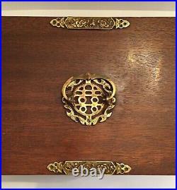 Vtg Japanese 4 Drawer Tansu Jewelry Chest / Box Brass Mounts Pulls Blue Velvet