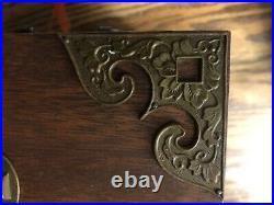 Vtg Japanese 6 Drawer Tansu Jewelry Chest / Box Brass Mounts Pulls Blue Velvet