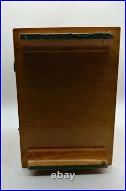 Vtg MCM Salesman Sample Oak Wood Dresser Jewelry Box 3 Pink Lined Drawers