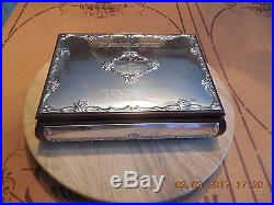 Vtg. Valori Italian Sterling Silver & Mahogany Wood Jewelry Box