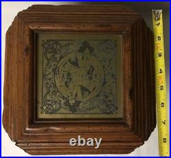 Vtg Wood Jewelry Box Chest Drawers Art Nouveau Mucha Style Brass Plaques Italy