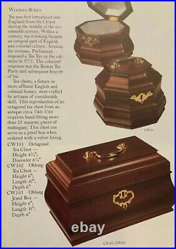 WILLIAMSBURG REPRODUCTION Wooden Tea Jewelry Box By Virginia Metalcrafters NoKey