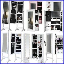 Wall Desktop Standing Mirror Jewellery Cabinet with LED Lights Makeup Organiser