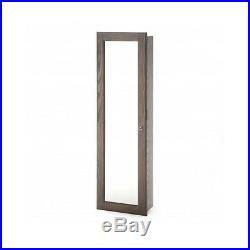 Wall Jewelry Armoire Rustic Full Length Mirror Wood Box Mount Organizer Lock New