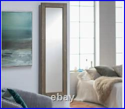 Wall Jewelry Armoire Rustic Mirror Wood Box Mount Organizer Lock Cabinet Holder