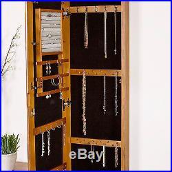 Wall Mount Mirror Jewelry Armoire Wood Cabinet Storage Box Ring Organizer Oak