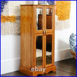 Walnut 2 Door Wooden Mirrored Jewelry Armoire Chest Storage Organizer Cabinet