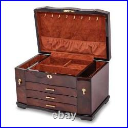 Walnut Burl Inlay 3-Drawer with Swing-out Sides Jewelry Box