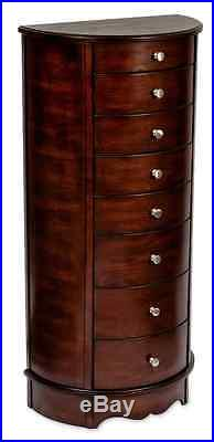 Walnut Jewelry Armoire Display Storage Chest, Ring Necklace Organizer Box, Wood
