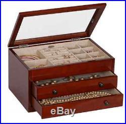 Walnut Jewelry Box Storage Display Chest Case, Ring Necklace Organizer, Wood New