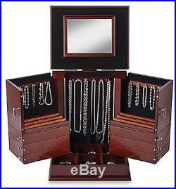 Walnut Wood Jewelry Organizer Box 300 Items Jewels Dressertop Swivel Compartment
