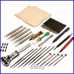Watch Watchmaker Case & Jewelers Jewelry Pro Repair Tool Kit Wood Box 78Pcs