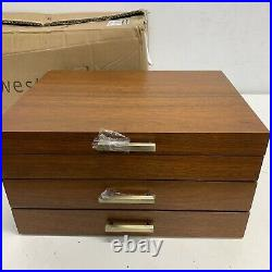 West elm Mid-Century Loft Jewelry Box Grand Wood+Brass NEW WITH DEFECTS