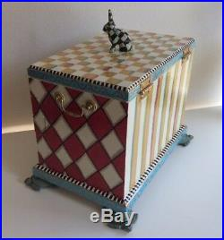 Whimsical Hand Painted Jewelry Box Chest Alice In Wonderland Turtle Rabbit OOAK