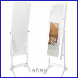 White Armoire Storage Organizer Free Standing Full Length Mirror Jewelry Cabinet