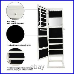 White Dressing Mirror Jewelry Cabinet Armoire Organizer Storage Freestanding