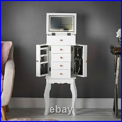 White Free Standing Jewellery Armoire Flip Top LED Mirror Organiser Cabinet