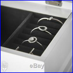 White Jewellery Armoire Cabinet Chest Box Flip Up LED Mirror Cabinet Organiser
